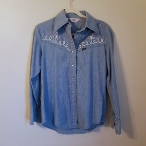1970s Vintage Lee Riders Blue Jean Rainbow Shirt